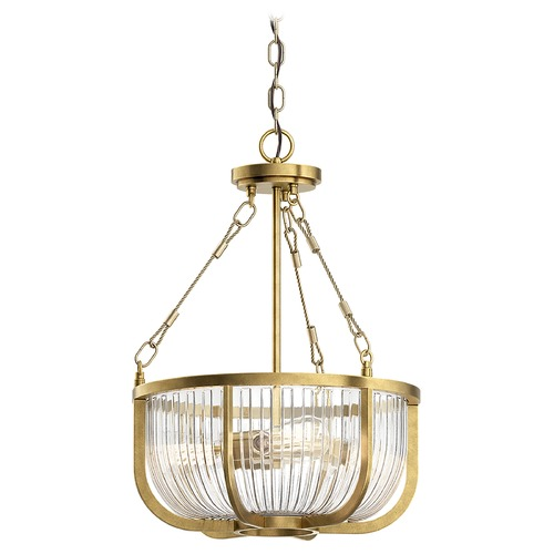 Kichler Lighting Roux Large Natural Brass 3-Light Pendant with Clear Ribbed Glass 42389NBR
