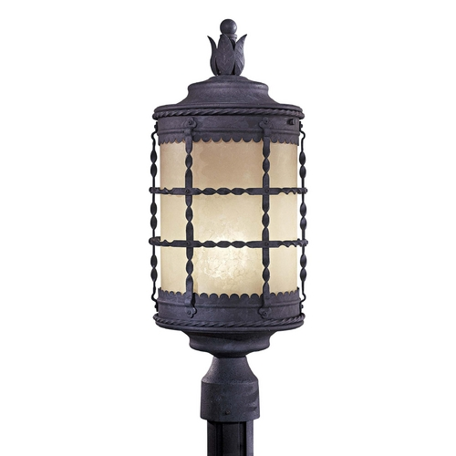 Minka Lighting Post Light with Beige / Cream Glass in Spanish Iron Finish 8885-A39-PL