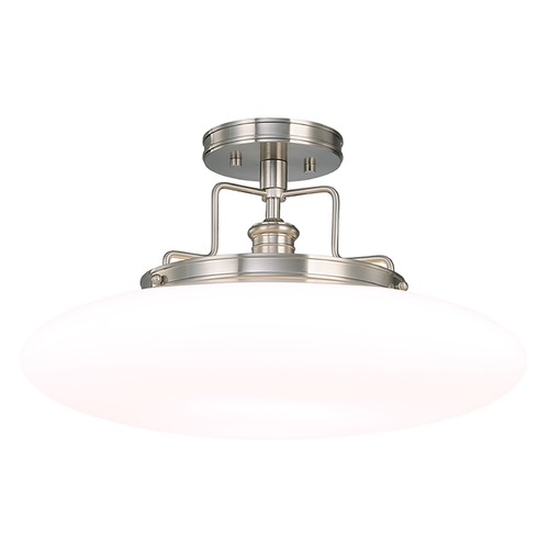 Hudson Valley Lighting Modern Semi-Flushmount Light with White Glass in Polished Nickel Finish 4208-PN