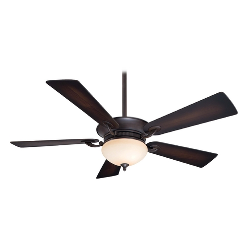 Minka Aire Ceiling Fan with Light with Beige / Cream Glass in Kocoa Finish F701-KA