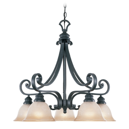 Designers Fountain Lighting Chandelier with Beige / Cream Glass in Natural Iron Finish 96185-NI