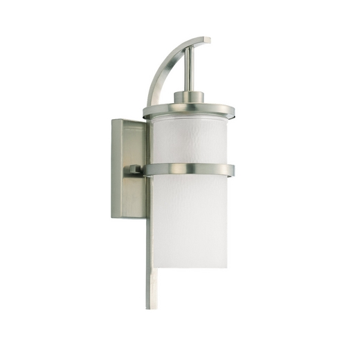 Sea Gull Lighting Modern Outdoor Wall Light with White Glass in Brushed Nickel Finish 88117-962