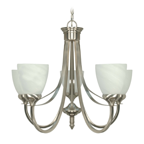 Nuvo Lighting Modern Chandelier with Alabaster Glass in Brushed Nickel Finish 60/460