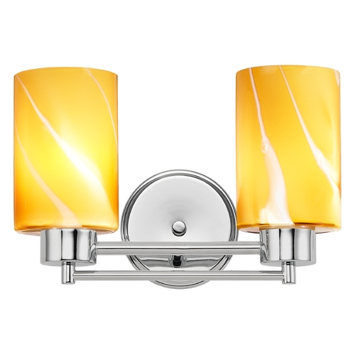 Design Classics Lighting Modern Bathroom Light with Butterscotch Art Glass in Chrome Finish 702-26 GL1022C