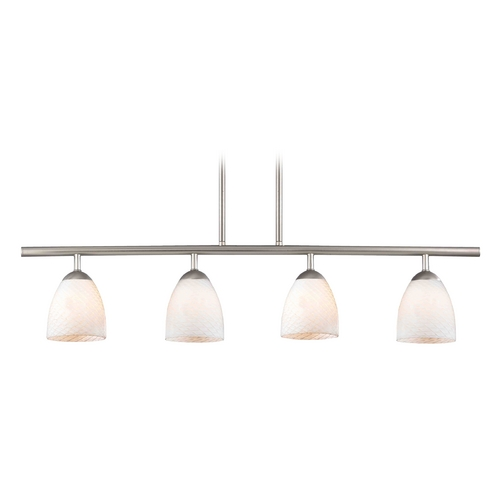 Design Classics Lighting Modern Linear Pendant Light with 4-Lights and White Glass in Satin Nickel Finish 718-09 GL1020MB