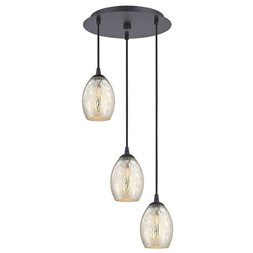 Design Classics Lighting Bronze Multi-Light Pendant with Mercury Oblong Glass and 3-Lights 583-220 GL1034-MER