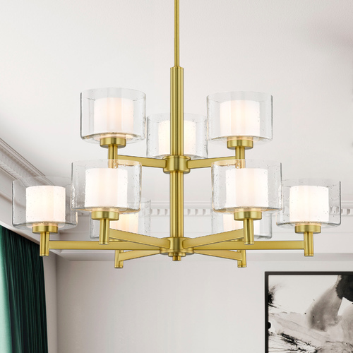 Design Classics Lighting Modern Satin Brass 2-Tier 9 Light Chandelier with Satin White and Clear Seeded Glass 2949-12