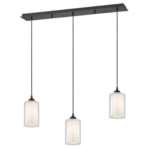 Design Classics Lighting 36-Inch Linear Pendant with 3-Lights in Neuvelle Bronze Finish with Clear / Frosted White Glass 5833-220 GL1061 GL1040C
