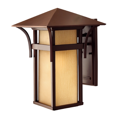 Hinkley Lighting Etched Amber Seeded Glass Outdoor Wall Light Bronze 16-Inch Hinkley Lighting 2575AR
