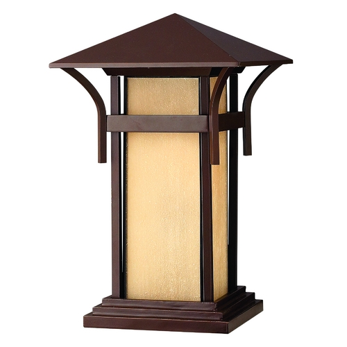 Hinkley Lighting Pier Mount Light with Amber Glass in Anchor Bronze Finish 2576AR