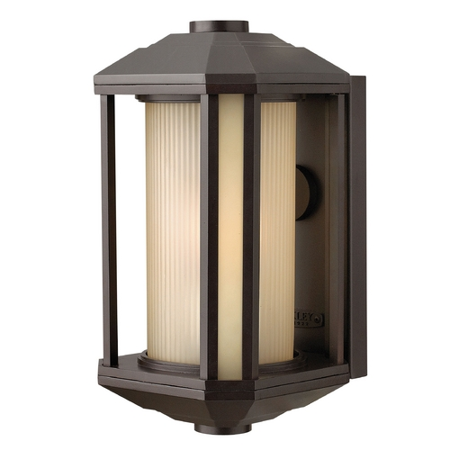Hinkley Lighting Outdoor Wall Light with Amber Glass in Bronze Finish 1394BZ-GU24