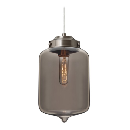 Besa Lighting Besa Lighting Olin Satin Nickel Mini-Pendant Light with Cylindrical Shade 1JT-OLINTM-SN