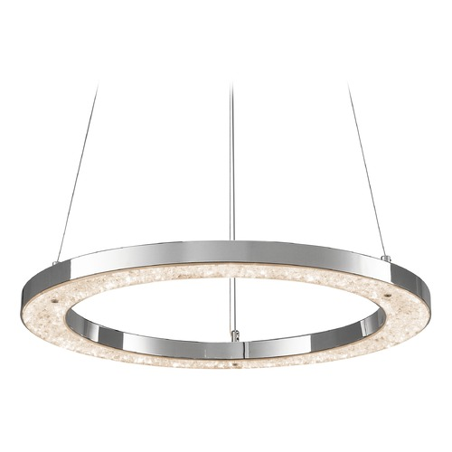 Elan Lighting Elan Lighting Crushed Ice Chrome LED Pendant Light 83435