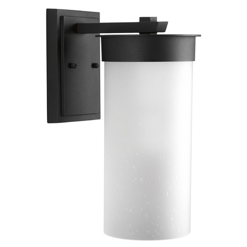 Progress Lighting Etched Seeded Glass Outdoor Wall Light Black Progress Lighting P5665-31