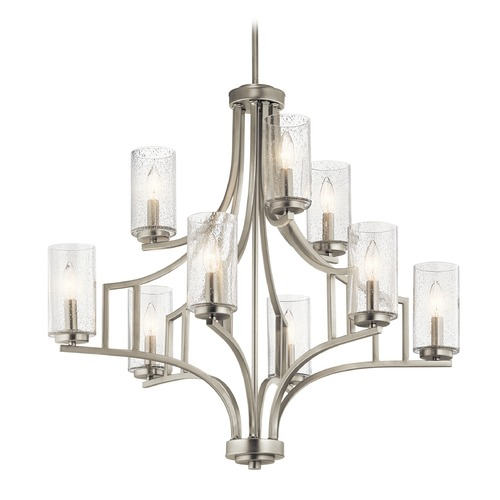 Kichler Lighting Seeded Glass Chandelier Brushed Nickel Vara by Kichler Lighting 44073NI