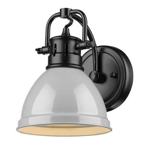 Golden Lighting Golden Lighting Duncan Black Sconce with Grey Shade 3602-BA1BLK-GY