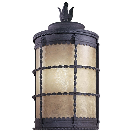 Minka Lavery Outdoor Wall Light with Beige / Cream Glass in Spanish Iron Finish 8887-A39-PL