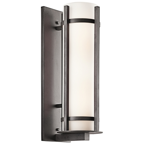 Kichler Lighting Kichler Outdoor Wall Light with White Glass in Anvil Iron Finish 49121AVI