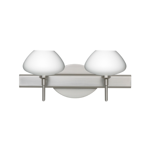 Besa Lighting Modern Bathroom Light with White Glass in Satin Nickel Finish 2SW-541007-SN