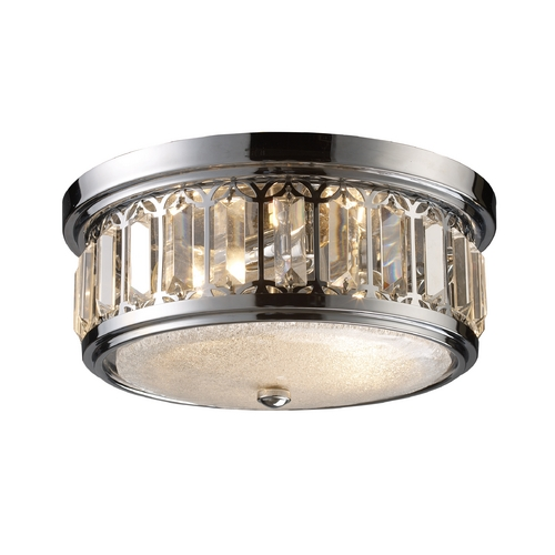 Elk Lighting Modern Flushmount Light with White Glass in Polished Chrome Finish 11226/2