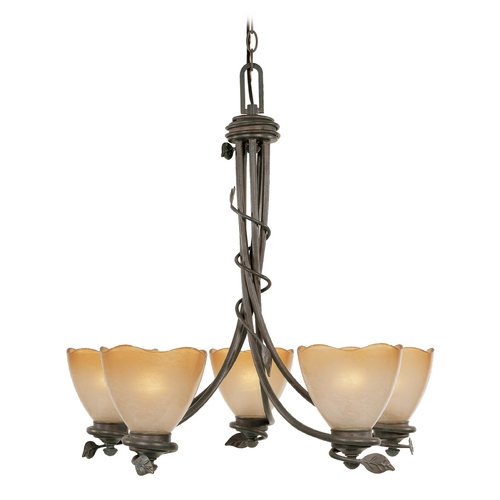 Designers Fountain Lighting Chandelier with Beige / Cream Glass in Old Bronze Finish 95685-OB