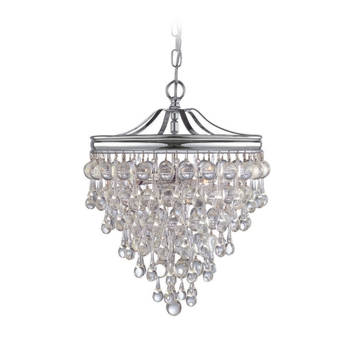 Crystorama Lighting Crystal Pendant Light in Polished Chrome Finish 130-CH