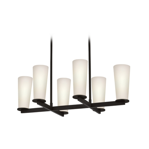 Sonneman Lighting Modern Island Light with White Glass in Black Bronze Finish 4926.32