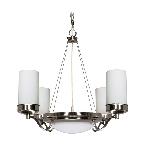 Nuvo Lighting Modern Chandelier with White Glass in Brushed Nickel Finish 60/490