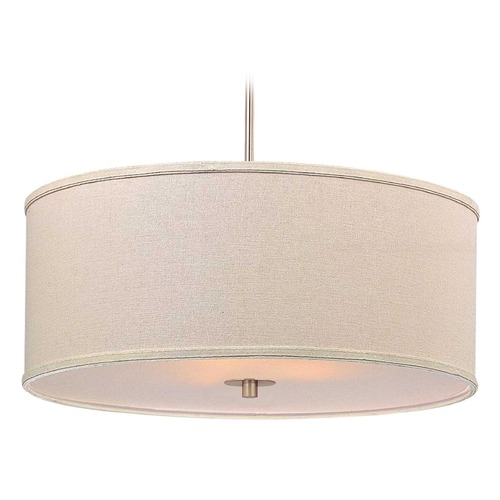 Design Classics Lighting Modern Drum Pendant Light with Cream Linen Shade DCL 6528-09 SH7420  KIT