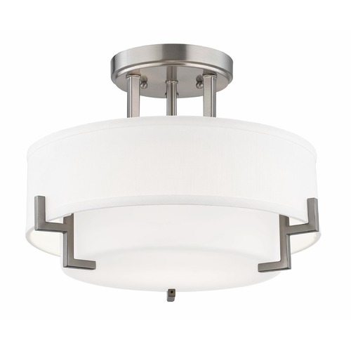 Design Classics Lighting Modern Ceiling Light with White Glass in Satin Nickel Finish 7014-09