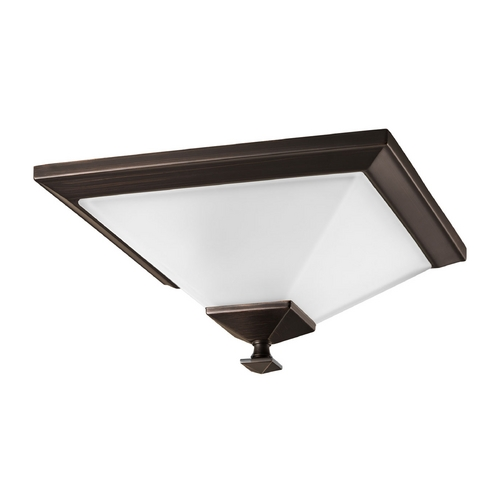 Progress Lighting Progress Flushmount Light with White Glass in Venetian Bronze Finish P3854-74