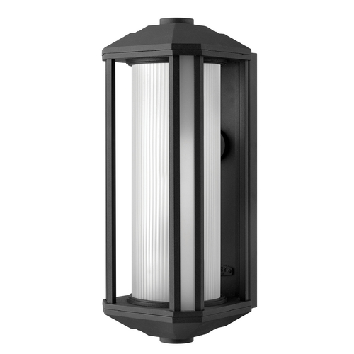 Hinkley Lighting Outdoor Wall Light with White Glass in Black Finish 1395BK-GU24