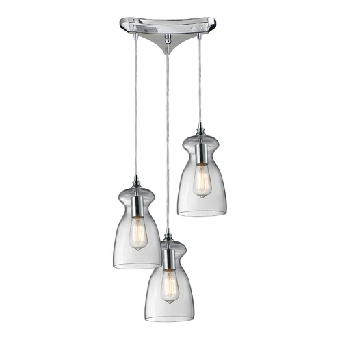 Elk Lighting Multi-Light Pendant Light with Clear Glass and 3-Lights 60053-3