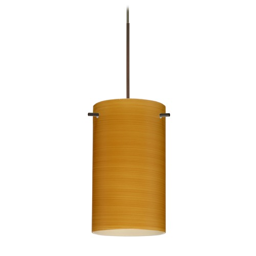 Besa Lighting Besa Lighting Stilo 7 Bronze Mini-Pendant Light with Cylindrical Shade 1XT-4404OK-BR