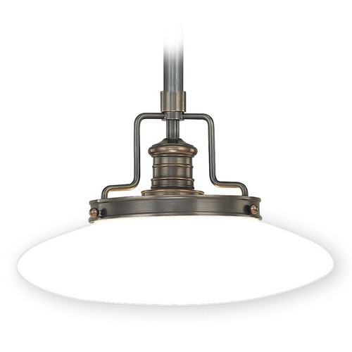Hudson Valley Lighting Modern Pendant Light with White Glass in Old Bronze Finish 4222-OB