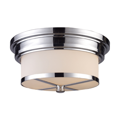 Elk Lighting Modern Flushmount Light with White Glass in Polished Chrome Finish 15015/2