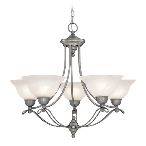 Designers Fountain Lighting Chandelier with Alabaster Glass in Pewter Finish 5695-PW
