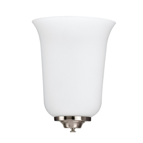 Sea Gull Lighting Sconce Wall Light with White Glass in Brushed Nickel Finish 49119BLE-962