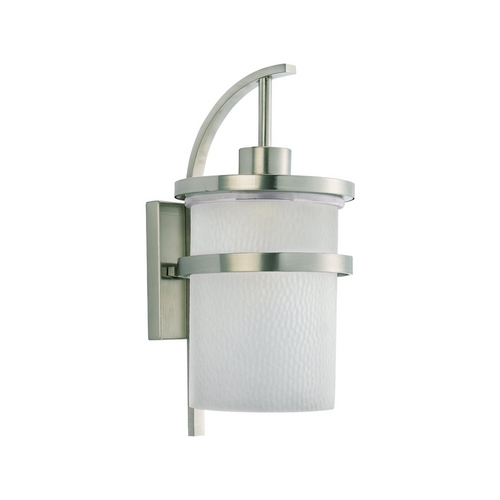 Sea Gull Lighting Modern Outdoor Wall Light with White Glass in Brushed Nickel Finish 88119-962