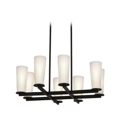 Sonneman Lighting Modern Chandelier with White Glass in Black Bronze Finish 4928.32