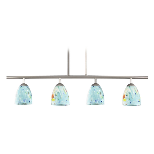 Design Classics Lighting 4-Light Linear Pendant Light with Turquoise Art Glass in Satin Nickel Finish 718-09 GL1021MB
