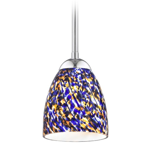 Design Classics Lighting Design Classics Gala Fuse Chrome LED Mini-Pendant Light with Bell Shade 681-26 GL1009MB