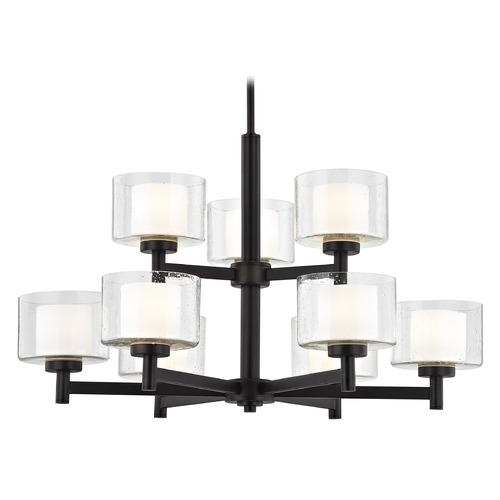Design Classics Lighting Modern Neuvelle Bronze 2-Tier 9 Light Chandelier with Satin White and Clear Seeded Glass 2949-220