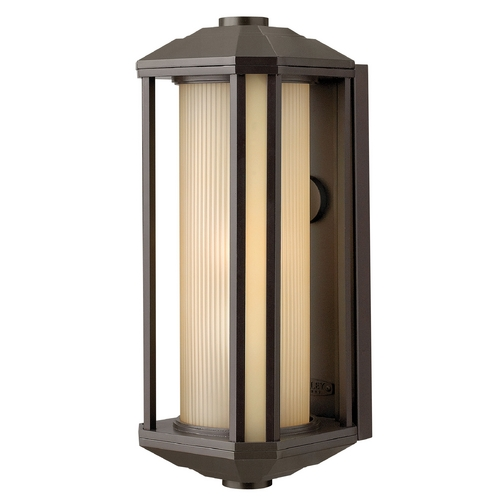 Hinkley Lighting Outdoor Wall Light with Amber Glass in Bronze Finish 1395BZ-GU24
