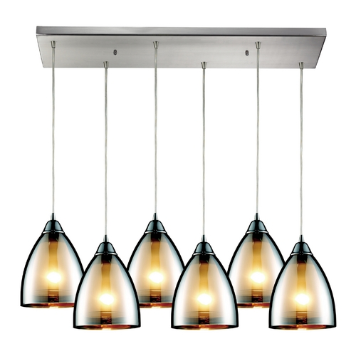 Elk Lighting Modern Multi-Light Pendant Light with Brown Glass and 6-Lights 10073/6RC