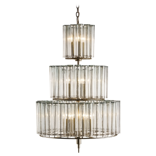 Currey and Company Lighting Currey and Company Lighting Silver Leaf Pendant Light with Drum Shade 9309