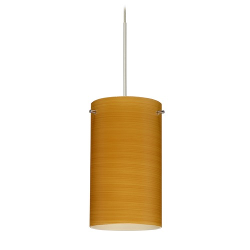 Besa Lighting Besa Lighting Stilo 7 Satin Nickel Mini-Pendant Light with Cylindrical Shade 1XT-4404OK-SN