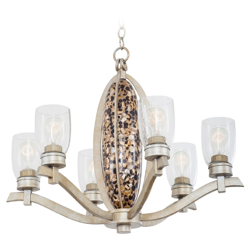 Kalco Lighting Seeded Glass Chandelier Silver Kalco Lighting 7217TS