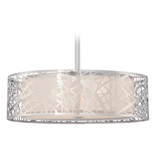 Quoizel Lighting Quoizel Platinum Collection Abode Polished Chrome Pendant Light with Drum Shade PCAE2820C