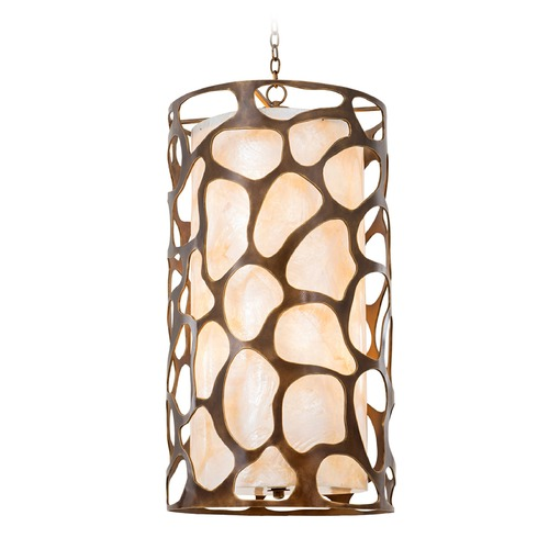 Kalco Lighting Kalco Gramercy Copper Patina Pendant Light with Cylindrical Shade 501950CP